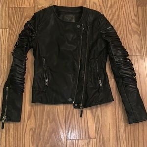 Black leather fringe sleeve motto riding jacket xs